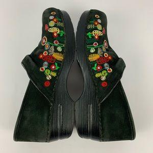 Dansko Embroidered Flower Black Clogs Size 40
